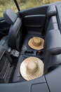 Summer, Sun, Car with two straw hats Royalty Free Stock Photo