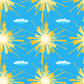 Summer sun seamless pattern. Vector illustration of yellow suns and clouds on a blue background. Royalty Free Stock Photo