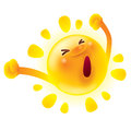 Summer sun stretching.Waking up. Yawning.