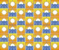 Summer sun and waves pattern background or fabric Royalty Free Stock Images