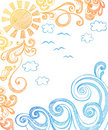 Summer Sun and Waves Sketchy Notebook Doodles Royalty Free Stock Photos