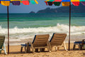 Summer sunbathe beach chair at phuket thailand Stock Photography
