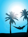 Summer sunbather silhouette Royalty Free Stock Photo