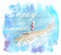 Summer sunny landscape with happy child who rejoice at the beach summertime inscription enjoy holidays and silhouette of running Stock Image