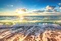 Summer sunrise with Beautiful cloudscape over the sea