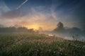 Summer sunrise. July dawn. Figgy sunrise on the river Royalty Free Stock Photo