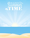Summer sunrise at the sea vector illustration Royalty Free Stock Photo