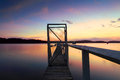 Summer sunset jetty wharf peaceful kincumber central coast australia Royalty Free Stock Image
