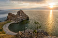 Summer sunset over Rock of Shamanka Burhan on Olkhon Island in Lake Baikal, Russia Royalty Free Stock Photo