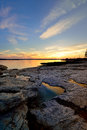 Summer sunset on rocky coast a beautiful the northern of maine in the united states and a protected harbor Royalty Free Stock Photography