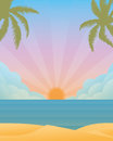 Summer sunset at the sea vector illustration Royalty Free Stock Photo