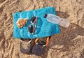 Summer suntan concept, flat lay Royalty Free Stock Photo
