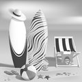 Summer. Surfboards and beach ball. Sea. Recliner