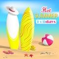 Summer. Surfboards and beach ball. Sea