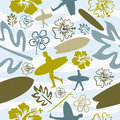 Summer Surfing seamless pattern Stock Photo