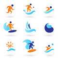 Summer swimming and surfing icons - blue, orange Royalty Free Stock Photo