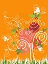 Summer Swirl Tree - illustration Royalty Free Stock Image