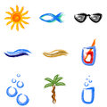 Summer symbols painted and holiday Royalty Free Stock Photo