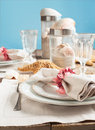 Summer table setting decorated with starfish and sea shell shells Stock Photos
