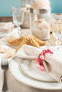 Summer table setting decorated with starfish and sea shell shells Stock Photo