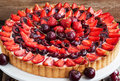 Summer tart with custard cream and fresh berries Royalty Free Stock Photo