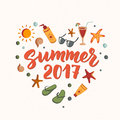 Summer 2017 text with beach elements. sunscreen, sunglasses, cocktail, starfish, flip flops