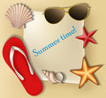 Summer text frame with shells and stars sunglasses flip flop eps Stock Image