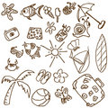 Summer theme doodles Royalty Free Stock Photo