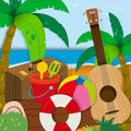 Summer theme with toys and guitar Royalty Free Stock Photo