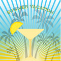 Summer themed background with palm trees and cocktail glass. Colorful illustration.Summertime tropical design. Sunbathing a