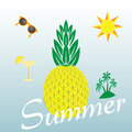 Summer themed background with palm trees and cocktail glass, pineapple and sun. Colorful vector illustration. Summertime tropical Royalty Free Stock Photo