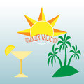 Summer themed background with palm trees and cocktail glass, pineapple and sun.Colorful vector illustration. Summertime tropical d Royalty Free Stock Photo