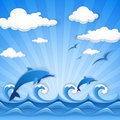 Summer time abstract vector illustration of blue seascape Stock Photos