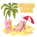 Summer time background banner design template and season elements beach Royalty Free Stock Photo