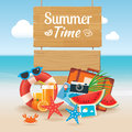 Summer time background banner design template and wooden sign el Royalty Free Stock Photo