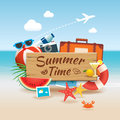 Summer time background banner design template and wooden sign se Royalty Free Stock Photo