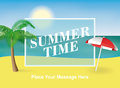 Summer time background. Palm tree and sun umbrella on the beach. Vector illustration for banners and promotions. Royalty Free Stock Photo