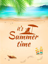 Summer Time on background seascape, beach, waves with realistic objects. Vector Illustration Royalty Free Stock Photo