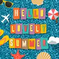 Summer time background, top view on composition with sun glasses, starfish, seashell, umbrella, flip flop on blue water Royalty Free Stock Photo
