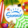 Summer time banner design with white circle for text and beach elements in orange background Royalty Free Stock Photo