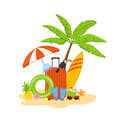 Summer time beach holidays travel objects, items scene with palm, suitcase, tucan, ring float, flippers,