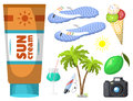 Summer time beach sea shore realistic accessory vector illustration sunshine travel