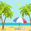 Summer time beach sea shore realistic background vector illustration sunshine travel Royalty Free Stock Photo