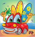 Summer time car cartoon Royalty Free Stock Photography