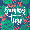 Summer Time card with tropical leaf seamless pattern. Royalty Free Stock Photo