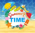 Summer time design with white circle for text and colorful beach elements. Bright greeting banner. Poster with tropical Royalty Free Stock Photo
