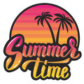 Summer time.Evening sun and palm trees. hand lettering phrase. D Royalty Free Stock Photo