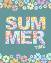 Summer time graphic illustration with flowers. Vector background Royalty Free Stock Photo
