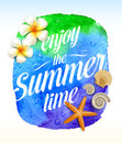 Summer time greeting with tropical flowers and sea creatures against a watercolor background banner Stock Images