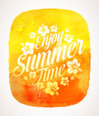 Summer time greeting with tropical flowers on a watercolor background banner Royalty Free Stock Image